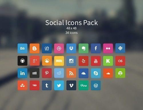 botones sociales cuadrados