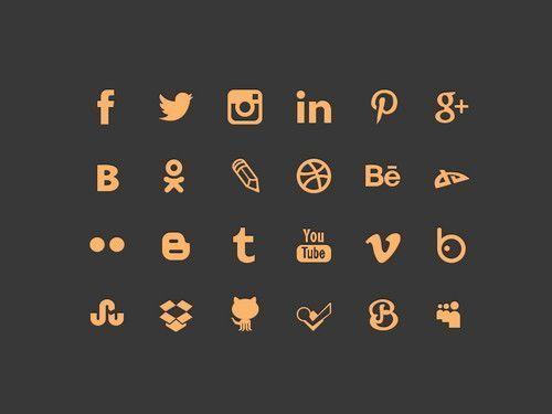 botones redes sociales gratis | social buttons orange