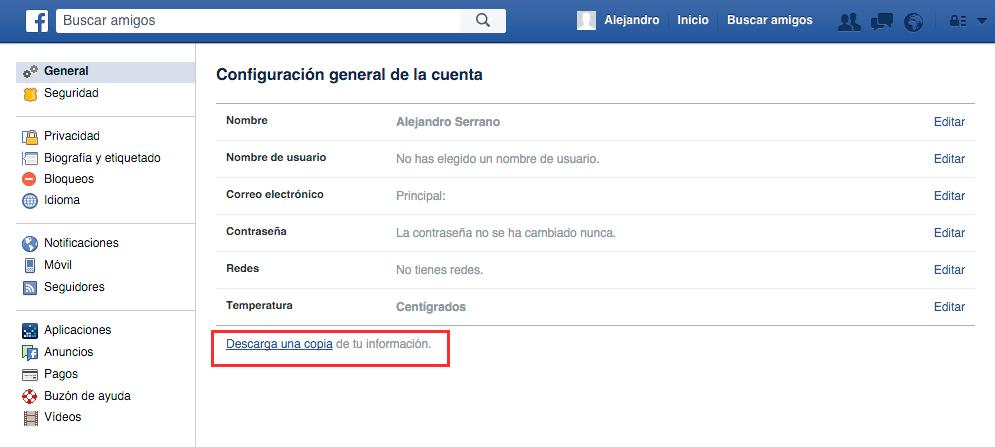 eliminar cuenta facebook | paso uno