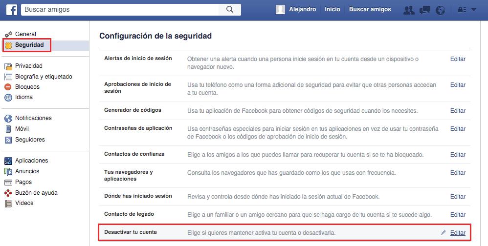 eliminar cuenta facebook | paso tres