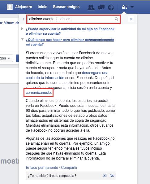 eliminar cuenta facebook | paso cuatro