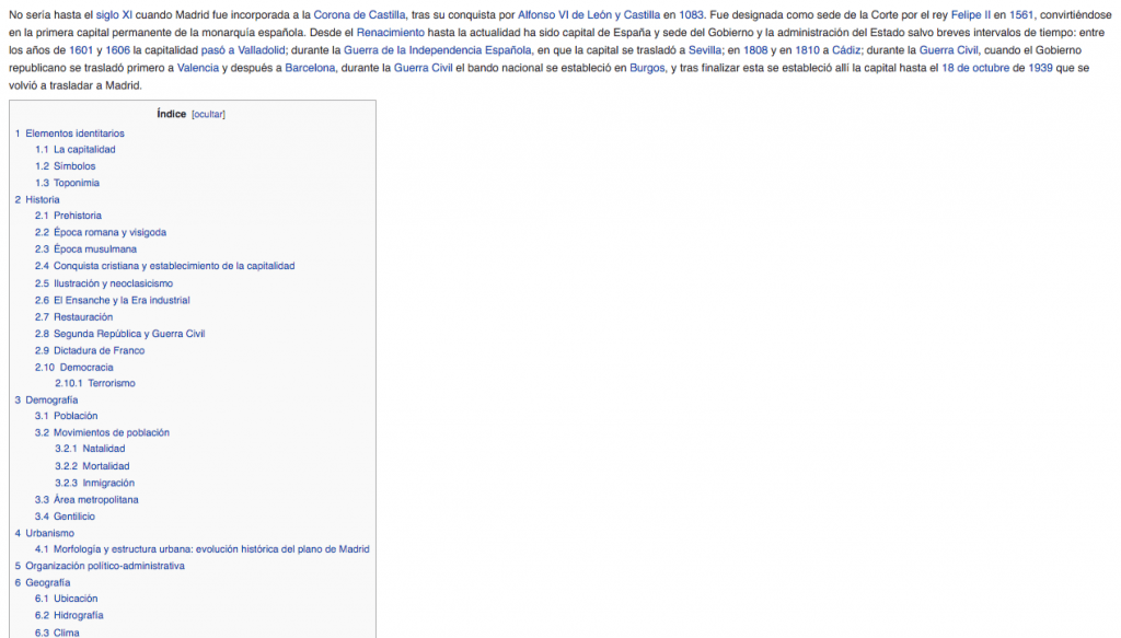 tabla de contenidos | wikipedia
