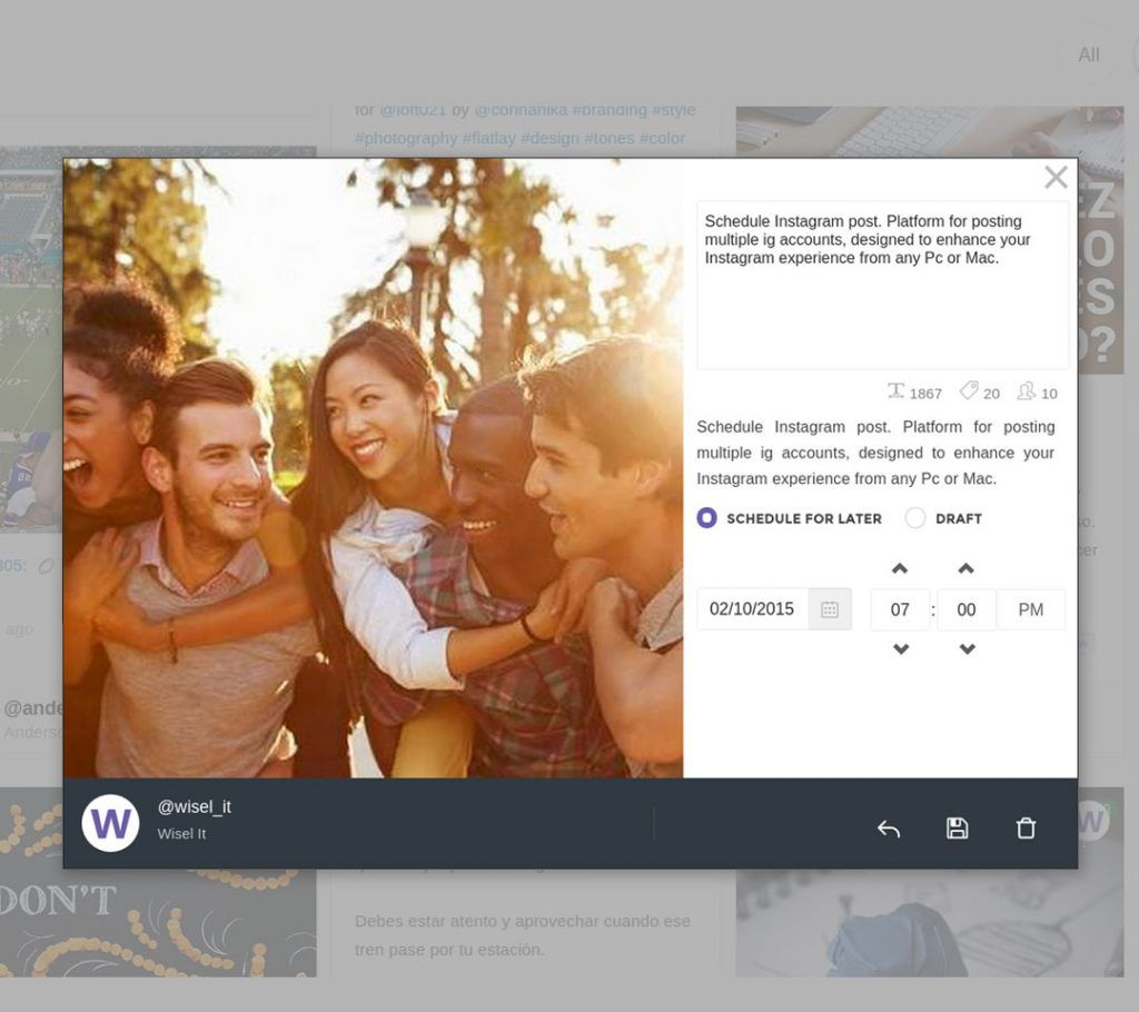 wiselit | herramienta gratis programar instagram