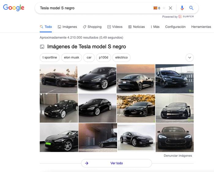 google imágenes pack con tesla model s negro