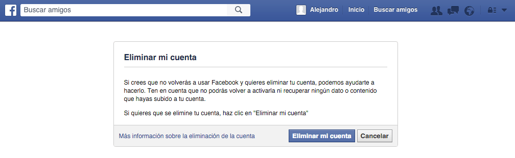 eliminar cuenta facebook | paso cinco