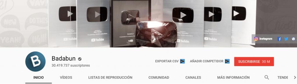 youtubers con más suscriptores - badabun
