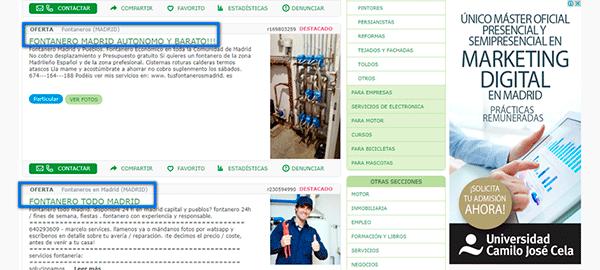 keyword stuffing - posicionamiento web
