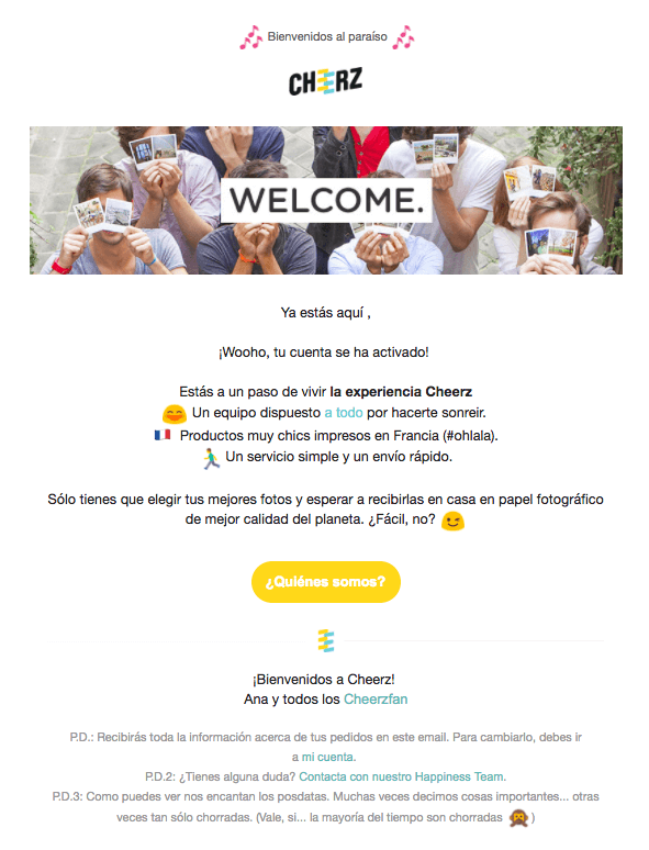 bienvenida - automatizacion email marketing