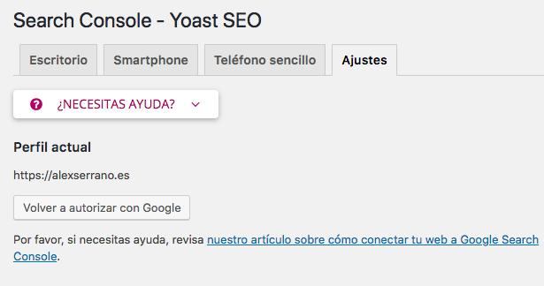 vincular search console con Yoast SEO