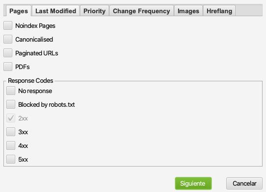 crear sitemap.xml con screaming frog