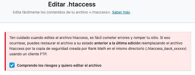 editar htaccess rank math